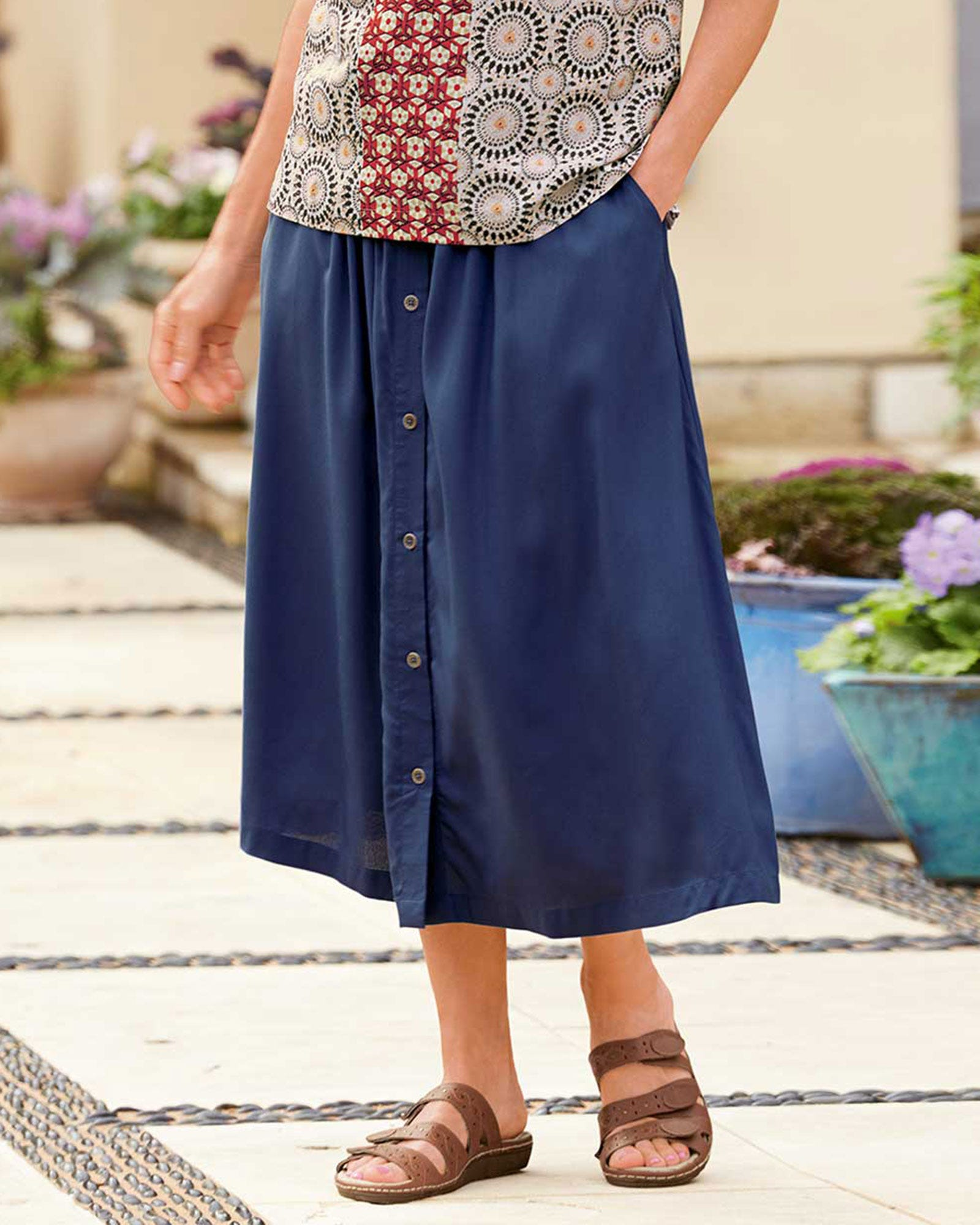 Challis Button Skirt
